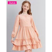 【秒杀价:59】笛莎童装女童裙子2021春新款中大童儿童女孩木耳边棉布长袖连衣裙