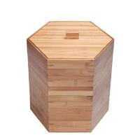 唐丰竹制普洱盒子六角带盖多层叠加式功夫存茶盒普洱茶饼盒储茶盒