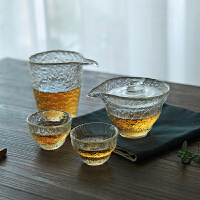 当当优品 锤目纹茶具-初雪 加厚玻璃 品茗茶具4件套