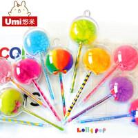 UMI韩国文具可爱创意笔毛球笔蓬蓬笔碳素笔黑笔签字笔水笔中性笔