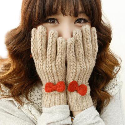 润颖秋冬季新品毛线可爱甜美女士加厚保暖韩版针织羊绒纯羊毛手套
