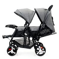 双胞胎婴儿推车轻便折叠前后可座可躺双人手推车宝宝儿童车 伸灰加长款【碳素车架】 越野版餐盘款