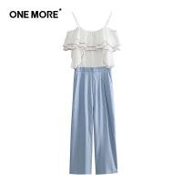 ONE MORE2018夏装新款荷叶边连体裤11KE820314
