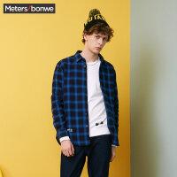 美特斯邦威长袖衬衫男士2017冬装新款休闲格子寸衫加绒衬衣青年R