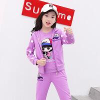 女童秋天套装5小女孩子穿6秋天衣服7长袖三件套8运动服9岁12儿童wk-93 紫色 (偏小半码)