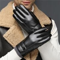 手套男冬季户外机车摩托车开车骑行保暖加厚加绒防风触屏皮手套男 均码
