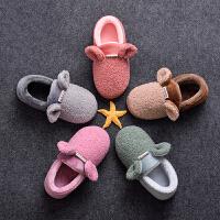 儿童棉拖鞋保暖冬季宝宝毛拖鞋男童女童可爱小孩家居棉鞋包跟
