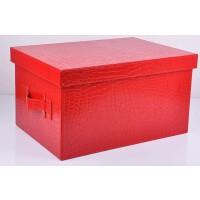 好吉森鹤/北京线上50元包邮//欧式有盖收纳箱整理箱子/皮革文件箱/PU料文件资料盒杂物箱储物箱多种颜色可选择(30*26CM)/文件盒--------------------1个+送品365801