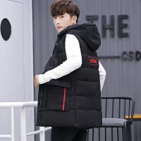 男士棉马甲男冬季韩版潮中长款学生潮修身帅气青少年保暖马夹