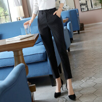 2020新款时尚显瘦黑色条纹职业工装西装裤女秋季小脚九分女士裤子