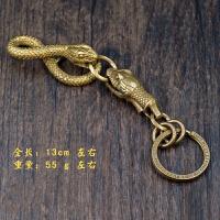 复古养牛创意手工纯铜黄铜十二生肖盘蛇皮带挂钥匙扣链挂配件吊坠