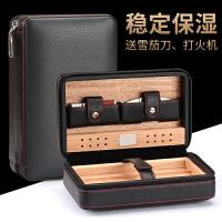 雪茄盒 便携式雪茄剪打火机套装雪松木木质保湿烟盒皮盒雪茄工具雪茄剪刀4支装旅行套装