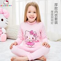 【到手价:89元】Hello Kitty凯蒂猫儿童保暖内衣套装秋冬女童宝宝三层保暖内衣套装夹棉KT01B09009