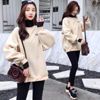 孕妇套装冬装2018新款韩版加绒加厚字母刺绣卫衣+打底裤两件套冬