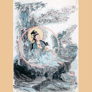 九华山乔觉禅林诗书画院副会长,一诚长老入室弟子 周晶(佛像)ZH266、