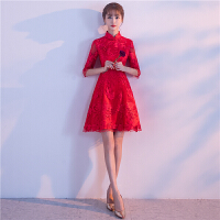 敬酒服新娘短款2018新款冬季红色结婚小礼服裙中式旗袍少女中国风