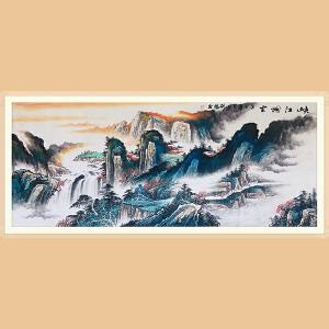 中国书协会员 中国美术家画院副院长 刘伟(峡江烟云)ZH547小六尺
