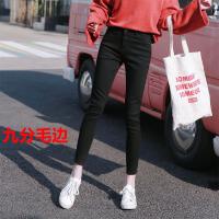 高腰黑色加绒加厚牛仔裤女冬季2018新款韩版紧身显瘦小脚九分裤子