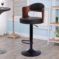 【品牌特惠】简约吧台椅子升降旋转椅北欧实木高脚凳前台收银椅家用靠背酒吧椅