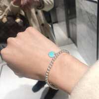 六一儿童节520正品代购手链/项链珐琅双心形 蓝色925纯银生日礼物520礼物母亲节