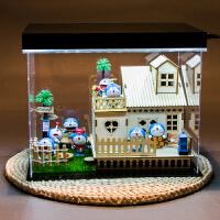 哆啦a梦公仔手办摆件动漫周边蓝胖子多啦a梦公仔模型创意生日礼物 +叮当+场景盒+灯 (含草垫)