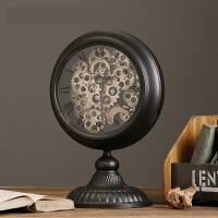 欧式复古铁艺齿轮座钟手工做旧钟表摆件 咖啡厅家居软装装饰摆设 10英寸