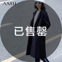 AMII[极简主义]冬新中长宽松翻领仿羊毛毛呢外套11591453