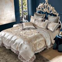伊迪梦家纺 贡缎提花欧式四件套蕾丝花边纯棉全棉床品欧美风奢华高档床上用品被套床盖款式PC01