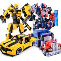 儿童礼物积木变形金刚机器人儿童拼装大黄蜂擎天柱玩具兼容乐高6男孩8岁10 擎天金刚+黄蜂金刚升级版