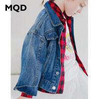 MQD童装女童牛仔外套2019秋装新款刺绣休闲可爱洋气宽松牛仔