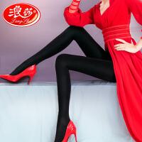 浪莎天鹅绒连裤袜80D微透肉春秋中厚显瘦肉色踩脚打底裤袜连脚性感黑色