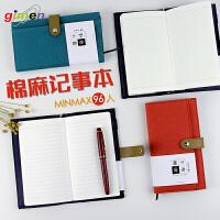 gimen/巨门文具 40k细语棉麻记事本手账本 学生笔记方格口袋手帐日志