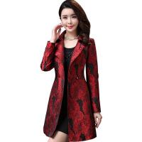 新款秋装中年高贵气质妈妈装中长款外套印花大码大衣风衣女秋上新 红色