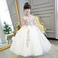 女童公主裙走秀花童小主持人钢琴演出服蓬蓬裙婚纱长裙春季儿童晚礼服