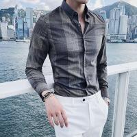 格子衬衫男长袖韩版休闲潮流修身发型师蓝色衬衣男士春秋新款