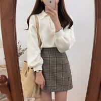 春季韩国短款泡泡袖polo领上衣女纯色长袖针织衫学生宽松套头毛衣