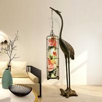 现代复古新中式落地灯客厅书房茶楼铁艺鸟笼仙鹤仿古典中国风灯具