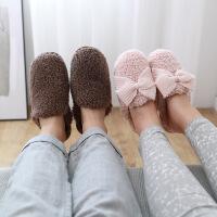 秋冬季可爱蝴蝶结家居拖鞋女男士情侣室内舒适毛绒加厚保暖棉拖鞋