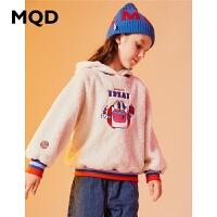 MQD童装加厚女童卫衣2019冬季新款加绒保暖儿童连帽