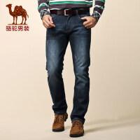 骆驼男装 冬装新款直筒保暖加绒加厚牛仔裤男潮长裤子
