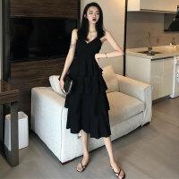 韩版气质chic风中长款层层蛋糕裙春季新款V领吊带裙收腰连衣裙女