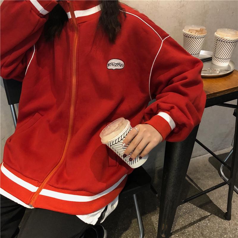 秋冬韩版中长款学院风慵懒风宽松加绒加厚拉链卫衣开衫上衣外套女  均码