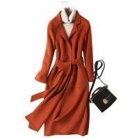 双面呢大衣女羊毛混纺外套长袖零羊绒大衣修身纯手工中长款毛呢外套女
