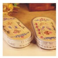 日照鑫 韩国 古典角花边 复古花纹木质印章组合套装 8枚印章 1盒装