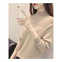 韩版秋冬新款女装长袖宽松针织衫半高领套头毛衣打底衫百搭潮