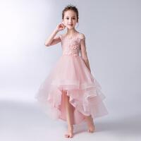 女童公主裙蓬蓬纱儿童礼服花童婚纱钢琴演出粉色一字肩晚礼服
