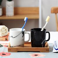 陶瓷情侣漱口杯套装创意家用卫浴刷牙杯子牙缸黑白浴室用品洗漱杯 大理石纹洗漱杯 不带牙刷
