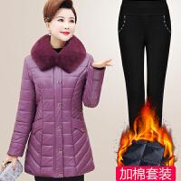 妈妈冬装皮棉衣中长款洋气上衣皮外套中年女装冬季羽绒
