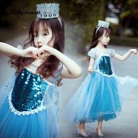 女童�B衣裙春秋洋��和�春�b艾莎�凵�冰雪奇�公主裙子