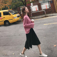 2018新款毛衣加裙子两件套装裙网红洋气女秋冬装晚晚风森女系女神 粉+黑
